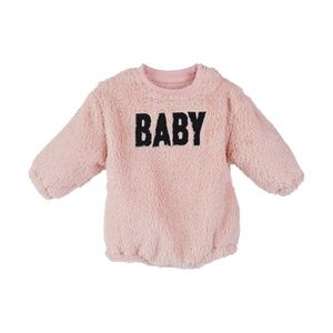 Baby Letter Printed Fleece Romper for Winter Pink